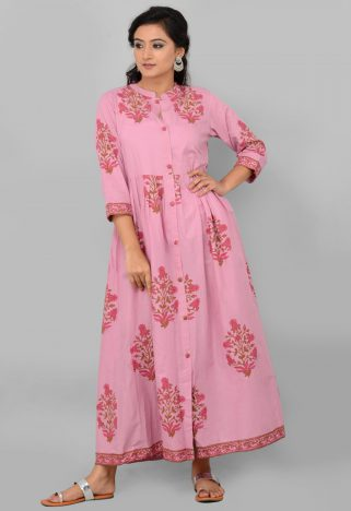 Pink Cotton Gota Set with tie and die Dupatta Front