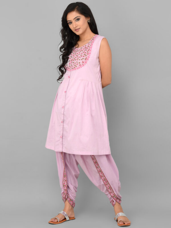 Pink Dhoti Set with Cape Front 2