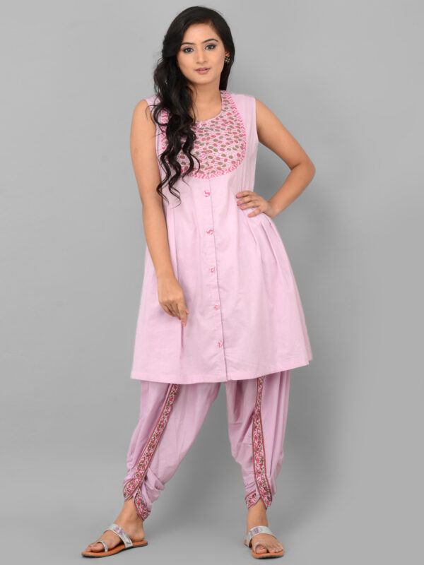 Pink Dhoti Set with Cape Front 1