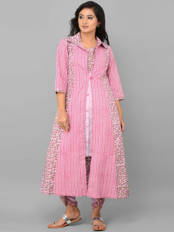 Pink Dhoti Set with Cape Front