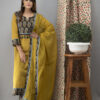 Hand Embroidered Corn Yellow Kurta with Ajrakh Pants and Cotton Dupatta _Front Style 2