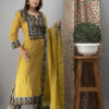 Hand Embroidered Corn Yellow Kurta with Ajrakh Pants and Cotton Dupatta _Front Style 1