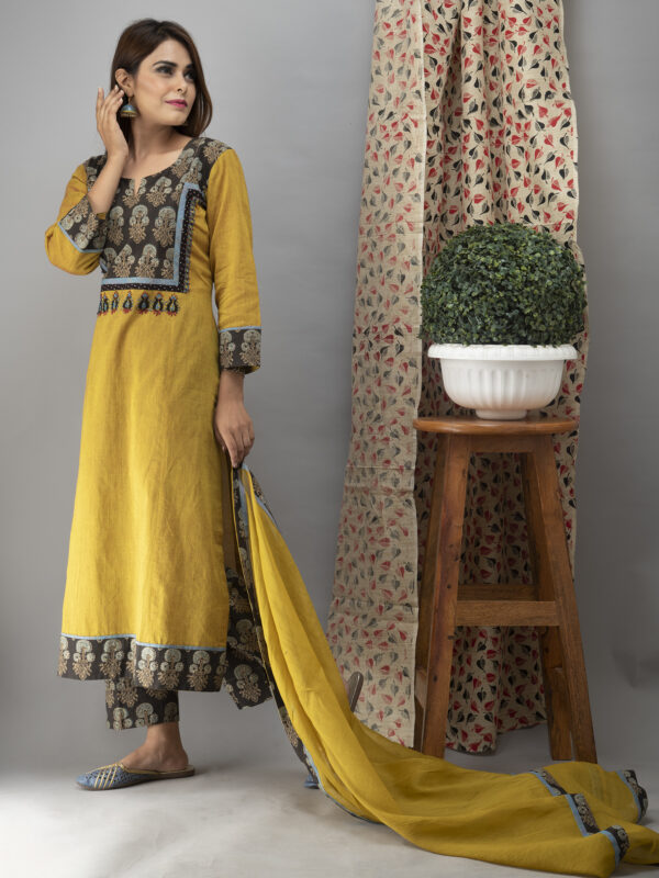 Hand Embroidered Corn Yellow Kurta with Ajrakh Pants and Cotton Dupatta _Front Style