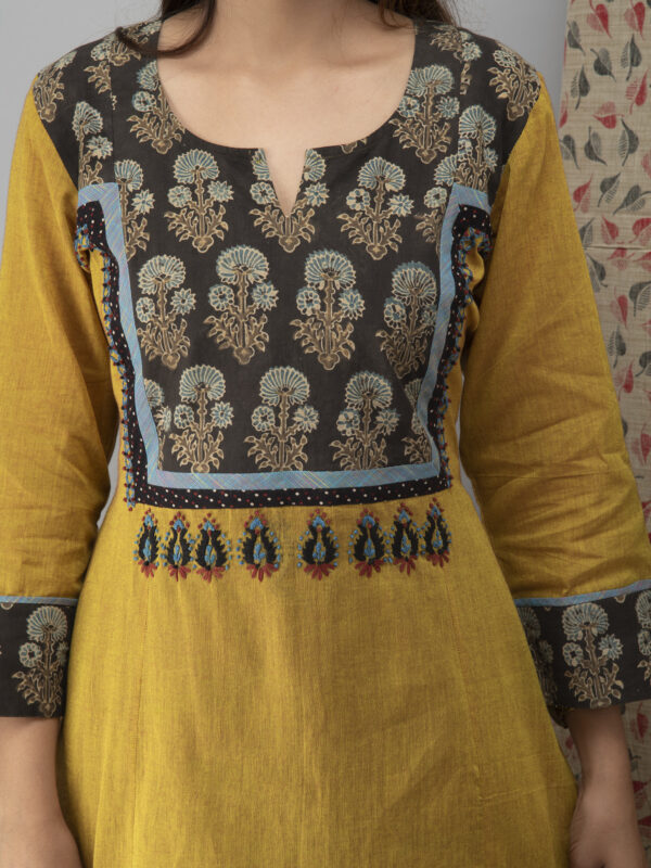 Hand Embroidered Corn Yellow Kurta with Ajrakh Pants and Cotton Dupatta _Front