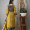 Hand Embroidered Corn Yellow Kurta with Ajrakh Pants and Cotton Dupatta _1
