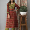 Hand Embroidered Candy Red Ajrakh Kurta Set