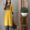https://laado-online.com/shop/sets/hand-embroidered-bumblebee-yellow-kurta-ajrakh-pants-dupatta Front