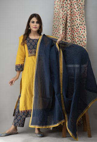 https://laado-online.com/shop/sets/hand-embroidered-bumblebee-yellow-kurta-ajrakh-pants-dupatta 2