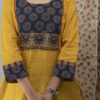 Hand Embroidered Corn Yellow Kurta with Ajrakh Pants and Cotton Dupatta
