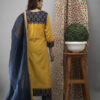 Hand Embroidered Bumblebee Yellow Kurta With Ajrakh Pants And Dupatta Back Side