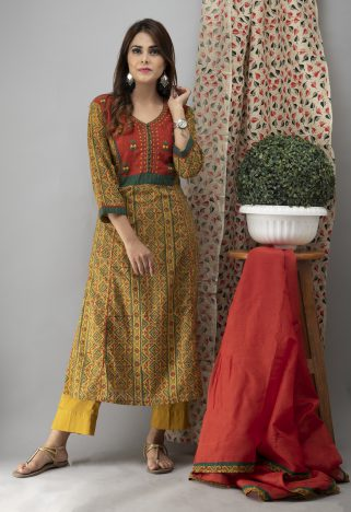 Hand Embroidered Mustard Ajrakh Kurta With Pants And Dupatta 6