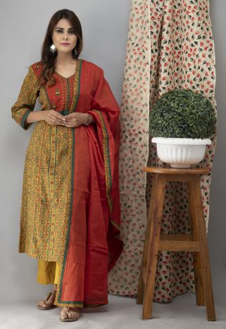 Hand Embroidered Mustard Ajrakh Kurta With Pants And Dupatta 5