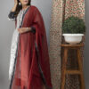 Hand Embroidered Grey Kurta With Ajrakh Pants Front pose