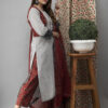 Hand Embroidered Grey Kurta With Ajrakh Pants Side pose