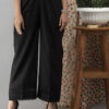 Black Cotton Palazzo With Lace and Pintucks 1