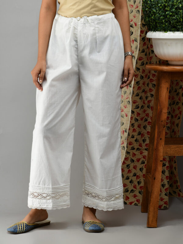 Off white Cotton Palazzo With Lace and Pintucks 1