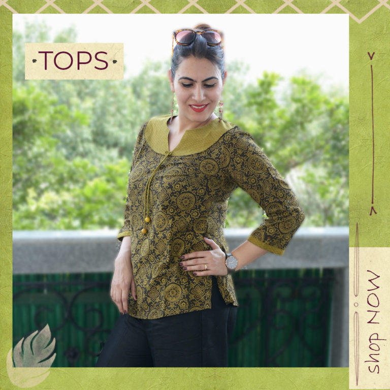 Ajrakh Olive Green Top
