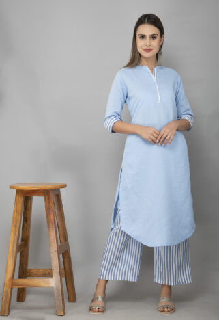 Skyblue Linen Kurta With Striped Handloom Cotton Palazzo-3
