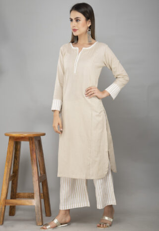 Faun Cotton Kurta With Striped Handloom Cotton Palazzo-1