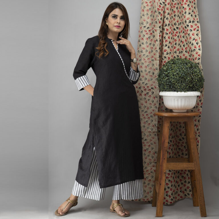Black Linen Kurta With Striped Handloom Cotton